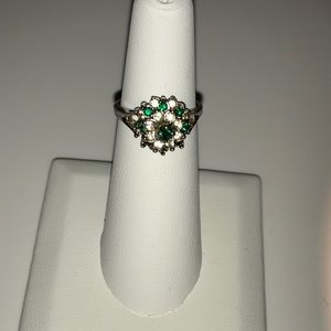 Antique 14k stamped emerald and clear stone ring
